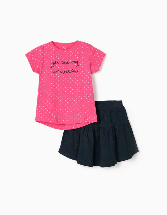 T-shirt and Skirt for Girls, 'My Universe', Pink/Blue