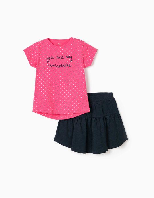 Camiseta y Falda para Niña 'My Universe', Rosa/Azul