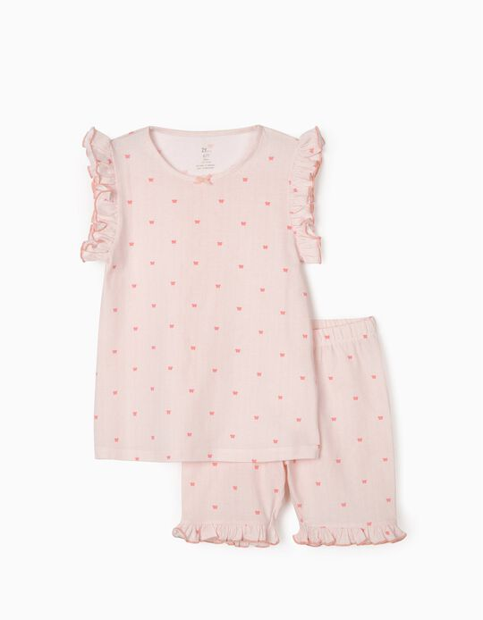Pyjama fille 'Stripes & Butterflies', rose