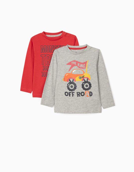 2 T-shirts Manga Comprida para Bebé Menino 'Ride Fast', Vermelho/Cinza