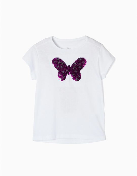 T-shirt for Girls 'Butterfly', White