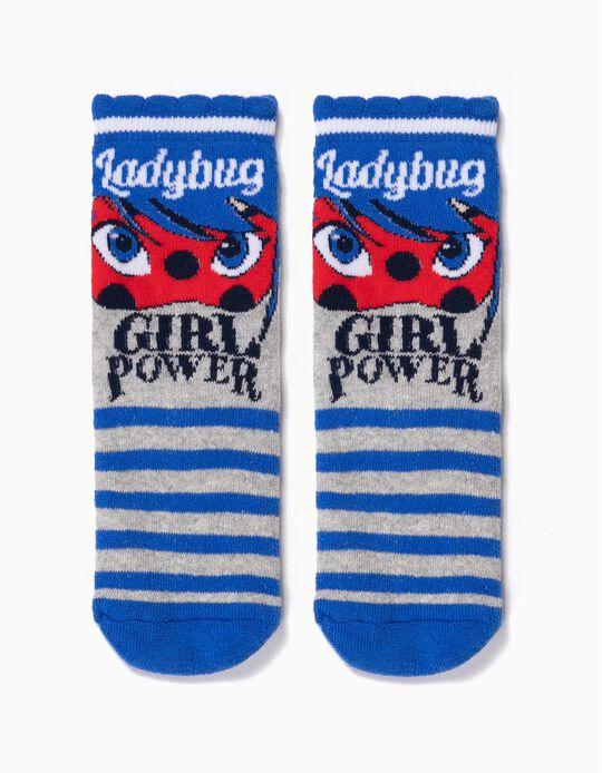 Meias Antiderrapantes para Menina 'Lady Bug', Cinza/Azul