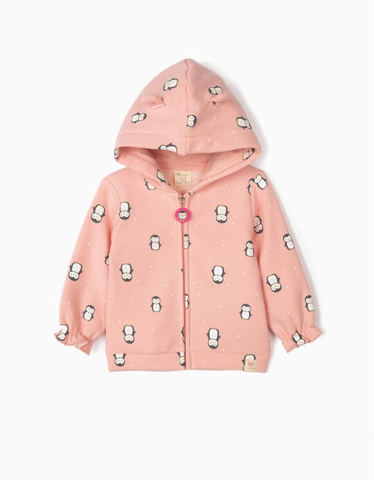 Hooded Jacket for Baby Girls 'Cute Penguins', Pink