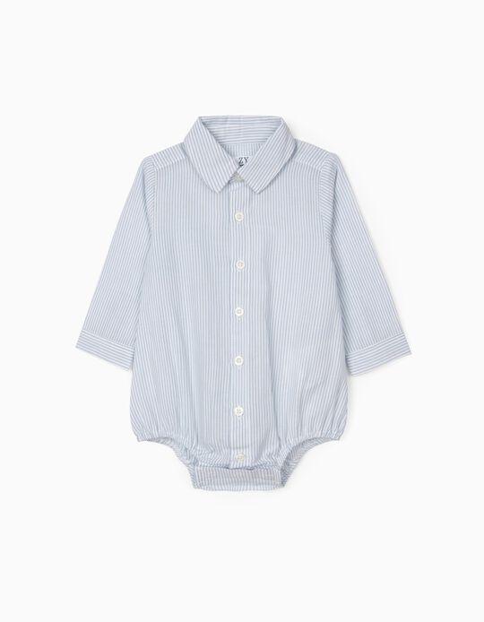 Striped Shirt-Bodysuit for Newborn Baby Boys, Blue