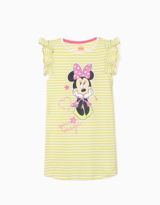 Vestido Riscas para Menina 'Minnie Magic', Verde Lima/Branco