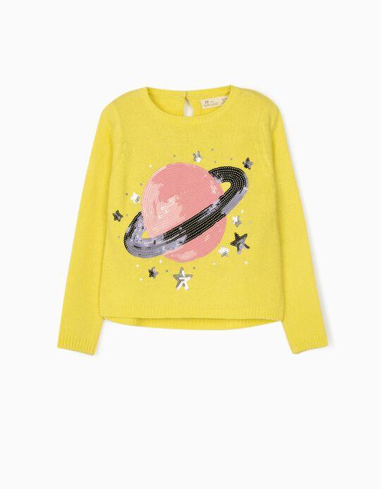 Pull maille fille 'Saturn', jaune