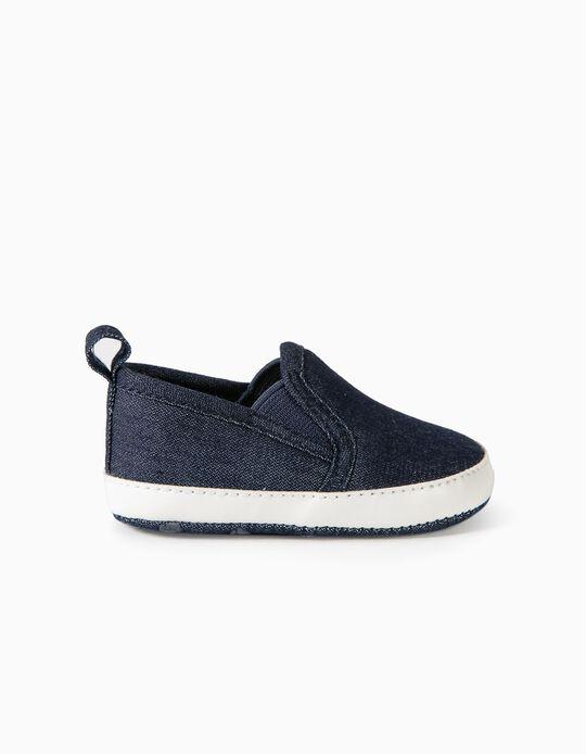 Zapatillas Slip-On Denim para Recién Nacido, Azul Oscuro