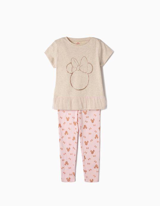 Pijama Manga Curta para Menina 'Minnie', Bege e Rosa