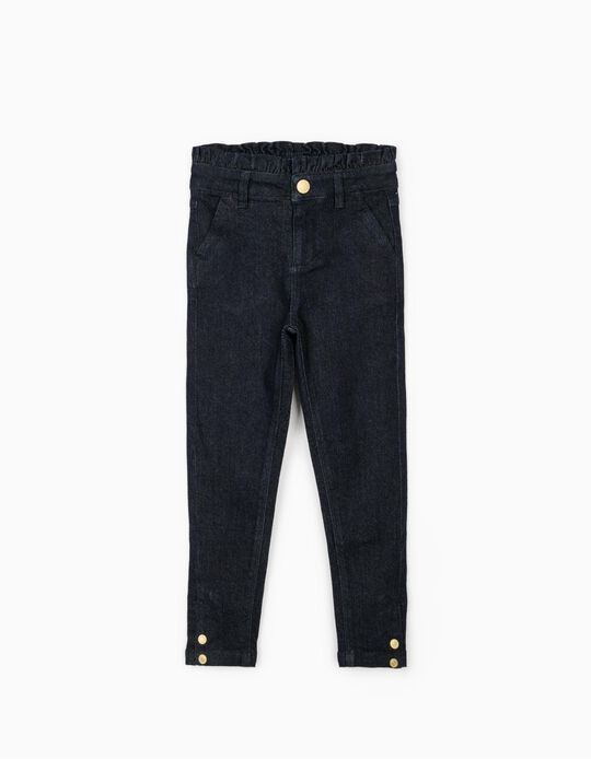 Denim Trousers with Ruffle for Girls, Dark Blue