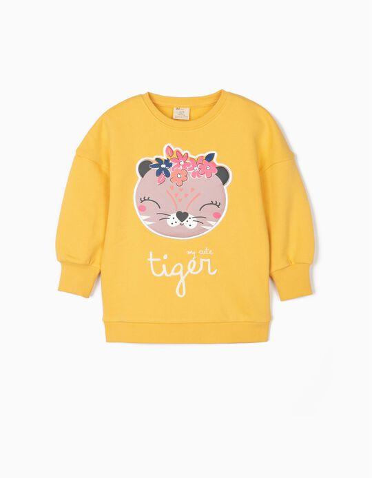 Sweatshirt para Menina 'Cute Tiger', Amarelo