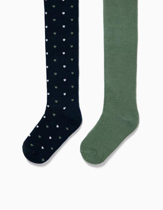 2 Leotardos de Punto para Niña 'Corazones', Azul Oscuro y Verde