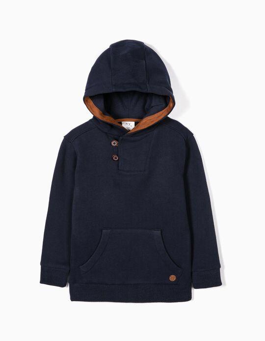 Sweatshirt para Menino com Capuz, Azul Escuro