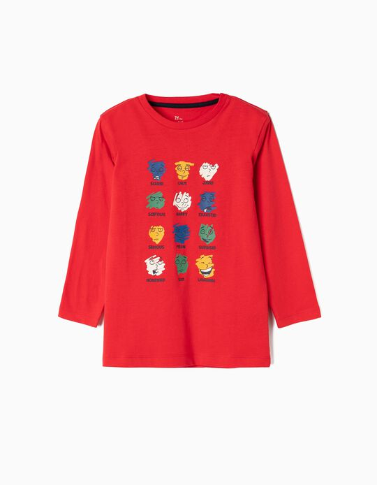 Camiseta de Manga Larga para Niño 'Moods', Roja