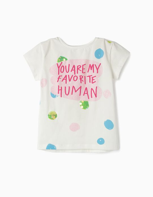 Long Sleeve Top for Girls 'Favorite Human', White