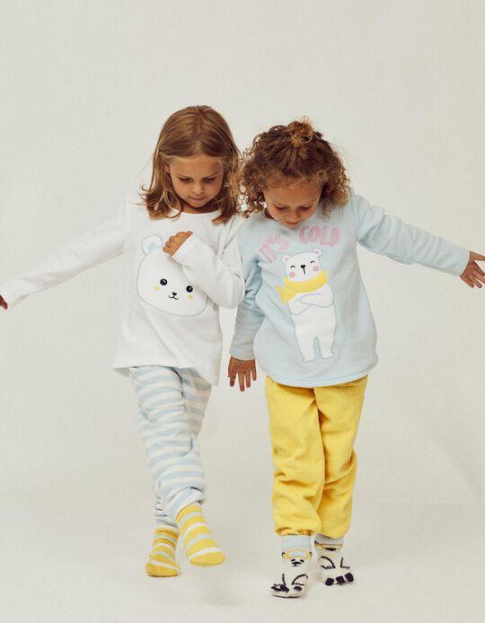2 Pijamas Polares para Niña 'It's Cold', Azul/Blanco/Amarillo