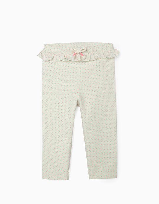 Leggings para Bebé Menina 'Dots', Verde Claro/Rosa