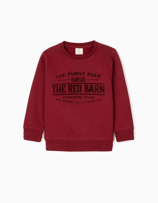 Sweatshirt para Menino 'The Red Barn', Bordô