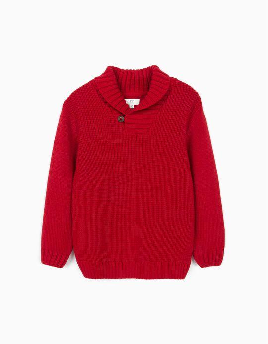 Jersey con Cuello Chal para Niño, Rojo