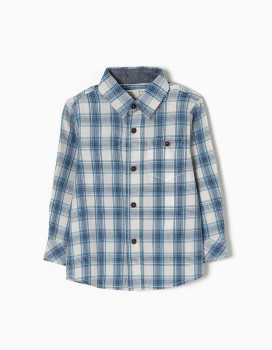 Camisa Ajedrez para Bebé Niño, Azul
