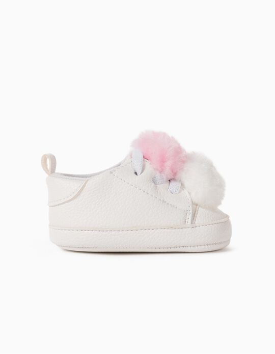 Trainers with Pompoms for Newborn Baby Girls, White