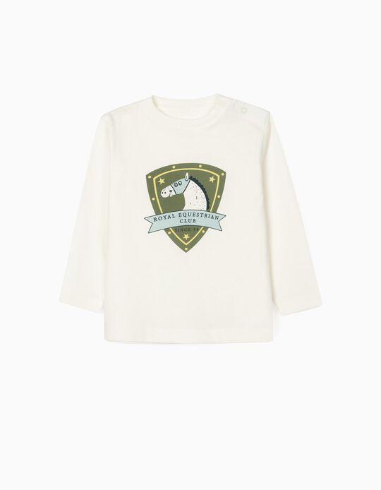 Camiseta de Manga Larga para Bebé Niño 'Royal Equestrian', Blanca