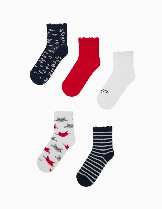 5 Pairs of Socks for Girls, 'Big Cats', White/Red/Blue