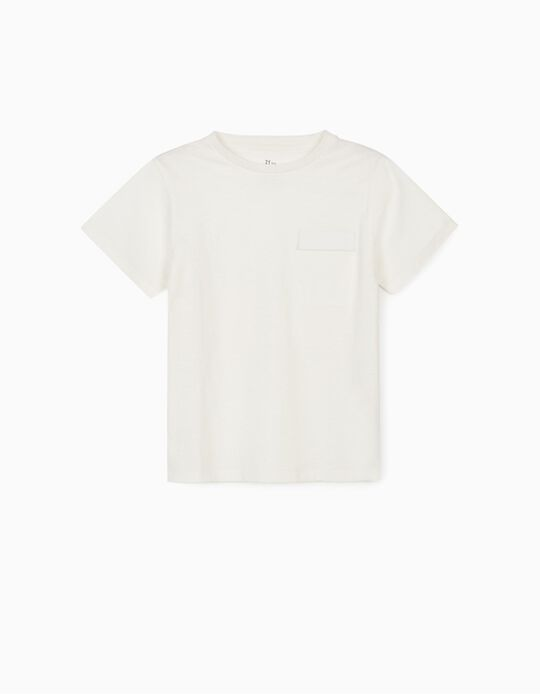 T-shirt with Pocket, for Boys, White