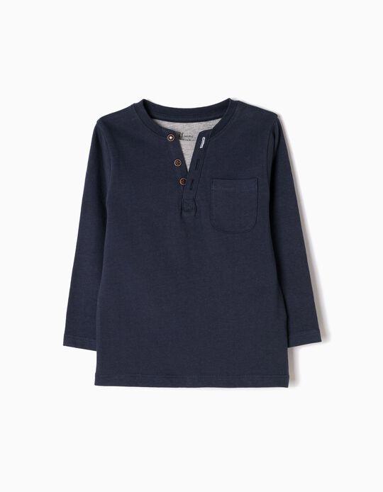 Camiseta de Manga Larga Efecto Doble Azul