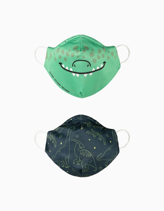 2-Pack Child Face Masks 'Air', Dinosaurs