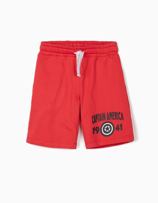 Sports Shorts for Boys, 'Captain America', Red