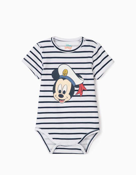 Body rayé nouveau-né 'Sailor Mickey', blanc/bleu