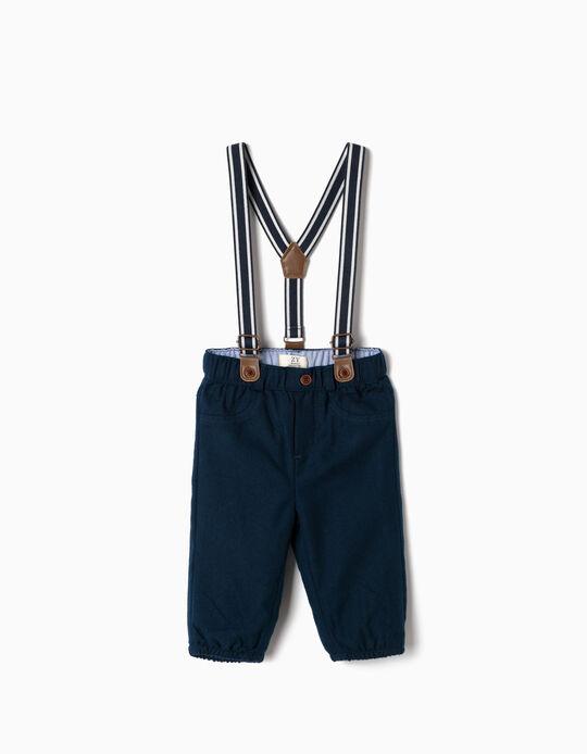 Pantalon à bretelles nouveau-né, bleu foncé