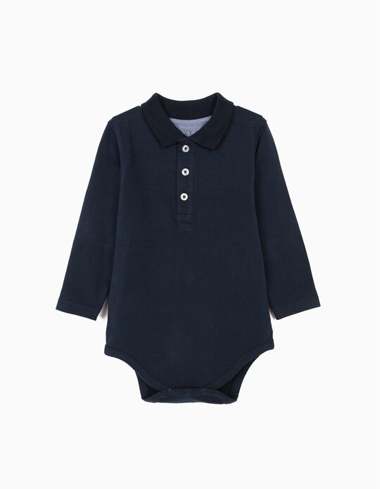 Polo Shirt Bodysuit for Newborn Baby Boys, Dark Blue