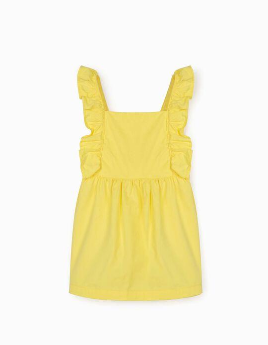 Pinafore Dress with Ruffles for Newborn Baby Girls, Yellow