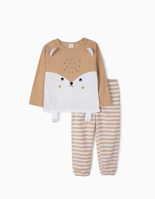 Polar Fleece Pyjamas for Girls 'Cute Hedgehog', Beige/White
