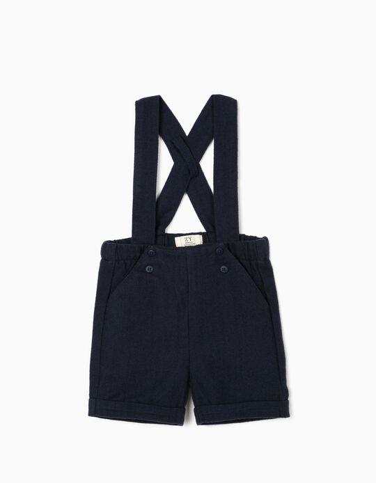 Shorts with Braces for Newborn Baby Boys, Dark Blue