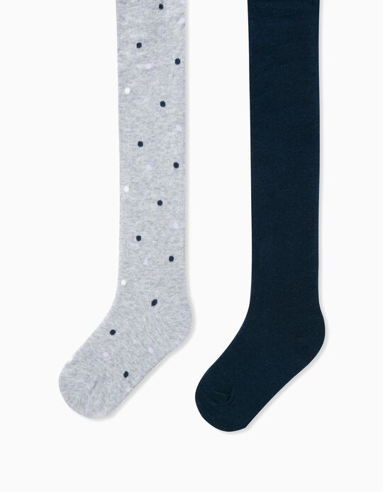 2 Pairs of Fine Knit Tights for Girls 'Dots', Grey/Dark Blue
