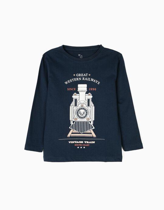 T-shirt Manga Comprida para Menino 'Vintage Train', Azul Escuro