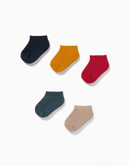 5 paires de socquettes côtelées bébé, multicolore