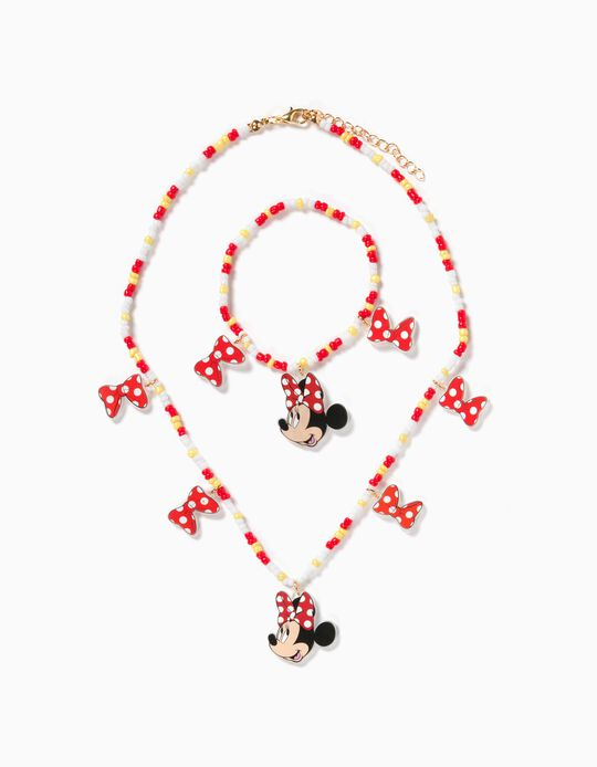 Necklace and Bracelet for Girls, 'Minnie Mouse', Red/White/White