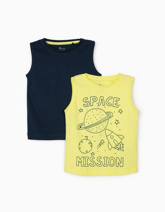 2 Sleeveless Tops for Boys 'Space Mission', Blue/Lime Yellow