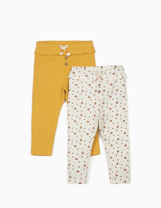 2 Leggings Caneladas para Bebé Menina, Amarelo/Branco