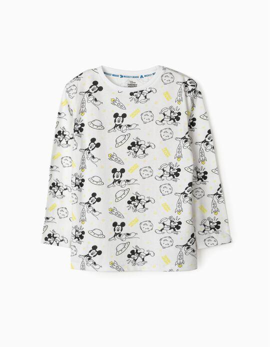 Camiseta de Manga Larga para Niño 'Mickey Space', Blanco