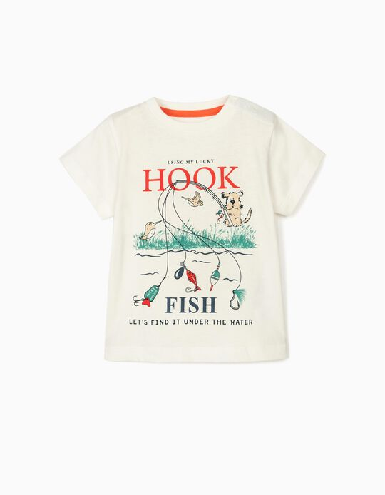 T-shirt for Baby Boys, 'Hook Fish', White