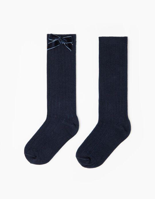 Calcetines Altos de Canalé para Niña, Azul Oscuro