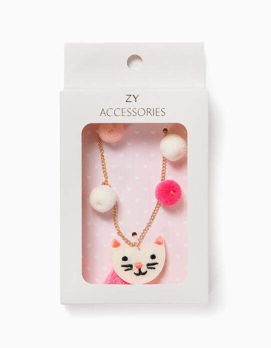 Collar para Niña 'Cute Cat', Dorado/Blanco/Rosa