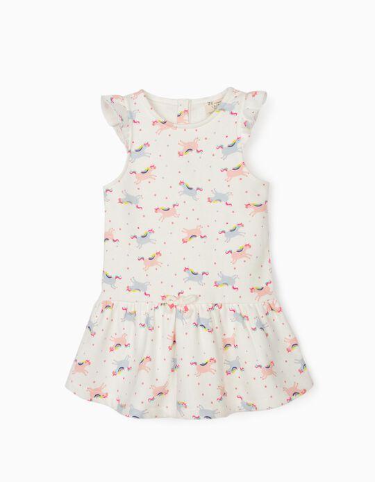 Dress for Baby Girls, 'Unicorns', White