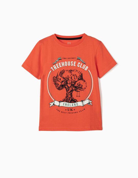 T-shirt para Menino 'Treehouse', Coral