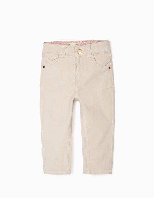Pantalon Velours Côtelé Bébé Fille, Blanc