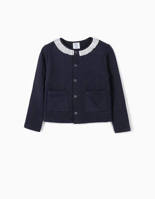 Jacket with Broderie Anglaise for Girls, Dark Blue